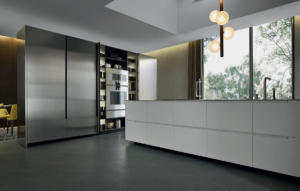 Contemporary wood veneer / stainless steel kitchen